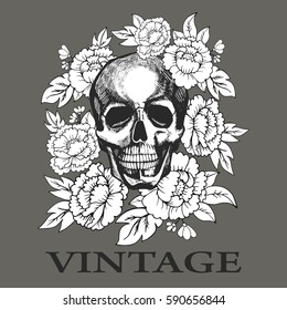 Skull in flowers painted by hand vector. Image can be used for web site background, on banners, invitations, print, poster, anti-stress coloring book and on your other designs.