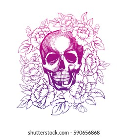 Skull in flowers painted by hand vector. Image can be used for web site background, on banners, invitations, print, poster, antistress coloring book and on your other designs.