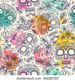 Skull and Flowers. Seamless Background. Mexican day of the dead. Freehand drawing.