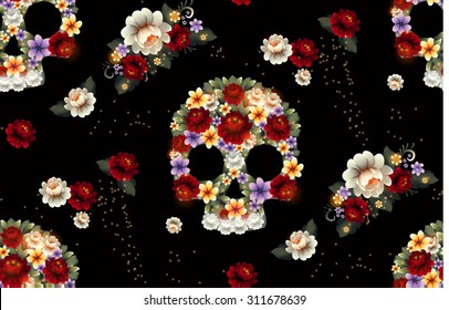 Skull and Flowers seamless pattern. Vector Illustration.