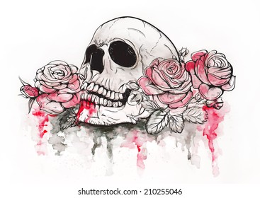 Skull and Flowers Vector Illustration Day of The Dead