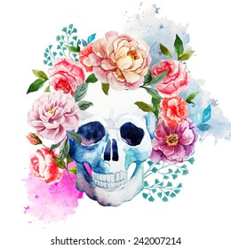 skull, flowers, watercolor