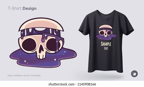 cfd3cc25 Skull with flowing cosmos t-shirt design. Print for clothes, posters or  souvenirs