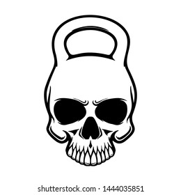 Skull in the form of a kettlebell. Design element for poster, t shirt, card, banner. Vector illustration
