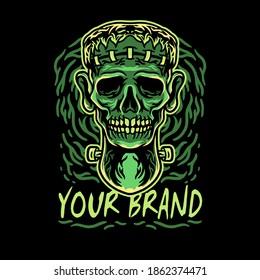 skull frankenstein head illustration for merchandise or poster designs