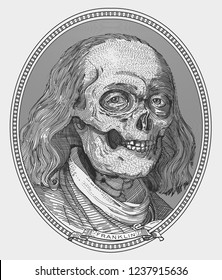 the skull of Franklin - money icon