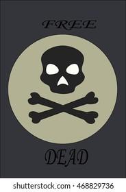 skull free dead crossbones death flat style icon vector illustration eps jpg