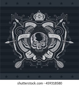 Skull front view between winding ribbons pattern and cross arrows with bow behind. Heraldic vintage label