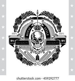 Skull front view in the center of bow with arrow and between laurel wreath. Heraldic vintage label on white