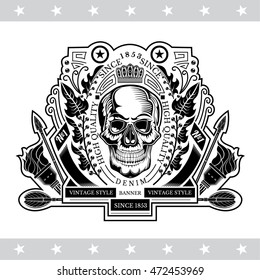 Skull front view in center of oval wreath between torch and arrows. Heraldic vintage label on white