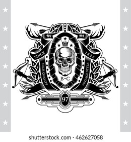 Skull front view in center of winding ribbon and wreath with cross arrows, horns, crossbow. Heraldic vintage label on white