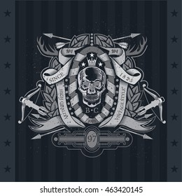 Skull front view in center of winding ribbon and wreath with cross arrows, horns, crossbow. Heraldic vintage label on blackboard