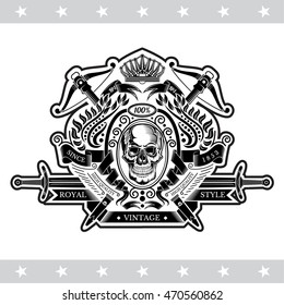 Skull front view in center wreath with crossbow and sword. Heraldic vintage label on white