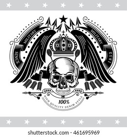 Skull front view with crown under the wings between ribbons and cross arrows. Vintage label isolated on white