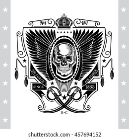 Skull front view with lower jaw between wings and cross cavalry swords. Vintage label isolated on white