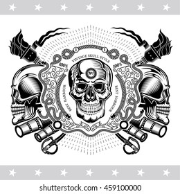 Skull front view with a lower jaw, between vintage weapons and line pattern. Marine label isolated on white