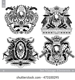 Skull front view with vintage weapon, elements and plant pattern. Set of vintage banners on white