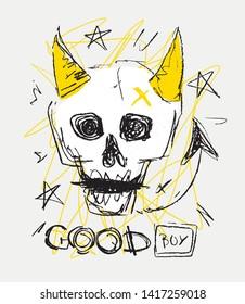 Skull fun hand drawn vector illustration. Devil skull. Good boy.