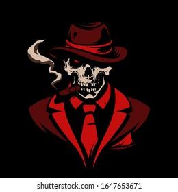 Skull in gangster hat with cigar on black background