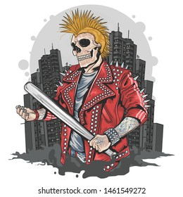 SKULL GANGSTER PUNK HOLDING BASEBALL BAT WITH TOWN BEHIND HIM ARTWORK