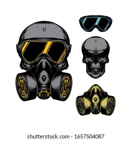 Skull in gas mask illustration. Toxicity emblem / sign. Can be used as t-shirt print, tattoo design, logo, graffiti. Urban style