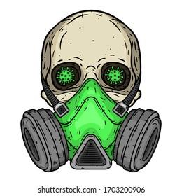 Skull. Skull with gas mask. Skull with respirator