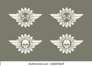 Skull gear wings and text. Biker club logo