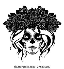 Skull girl in a flower wreath. Black and white illustration