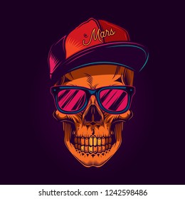 Skull with glasses and cap. Bright vector illustration. T-shirt or sticker design.