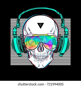 Skull in glasses and headphones. Vector illustration EPS10. Design a poster for a t-shirt. Great cool print on the sweatshirt. Black and white human skull.
