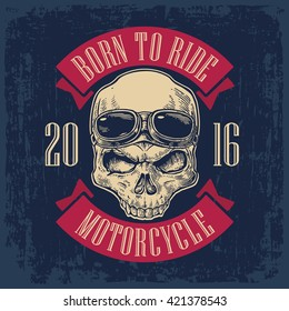 Skull with glasses on forehead for motorcycle club. Black vintage vector illustration. For poster and tattoo biker. Hand drawn design element isolated on dark blue background.