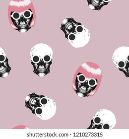 Skull with glasses and pink hair Seamless pattern. Exotic fashion trend and textile design. Repeated vector illustration.