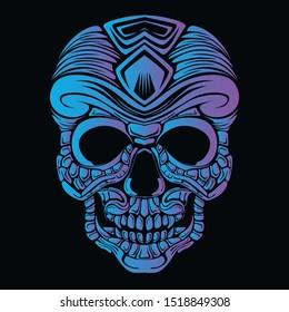 skull glow color artwork illustration