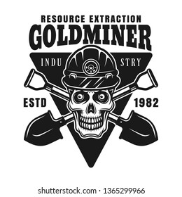 Skull of goldminer in protective helmet and two crossed shovels vector monochrome emblem, badge, label or logo in vintage style isolated on white background