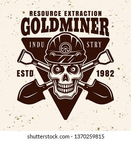 Skull of goldminer in protective helmet and two crossed shovels vector emblem, badge, label or logo in vintage style on background with grunge texture