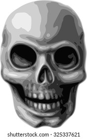Skull, grayscale, front view
