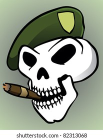 Skull with Green Beret and Cigarette