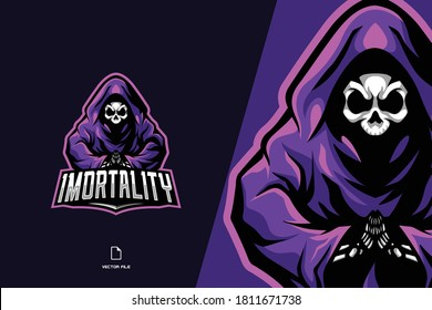 skull grim reaper mascot game logo for esport team template