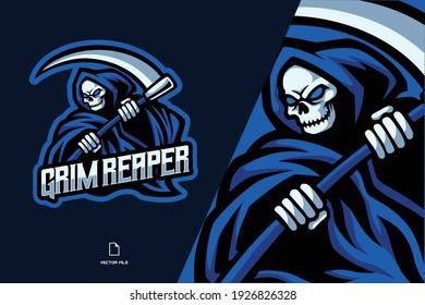 skull grim reaper mascot logo illustration