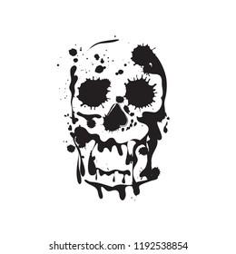 Skull. Grunge skull paint