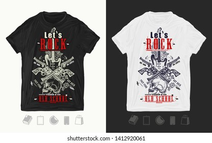 Skull, guitar and crossed guns. Let's Rock slogan. Musical print for t-shirts and another, trendy apparel design