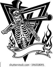 Skull and gun