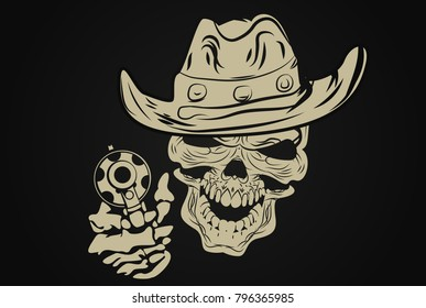 skull with a gun in his cowboy hat. vector.