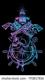 Skull and guns, anchor, steering wheel, compass, lighthouse, sea poster art