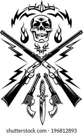 Skull, guns: pistols and Rifle