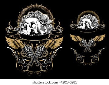 Skull with guns and roses