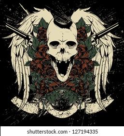 Skull and guns vector