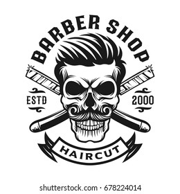 Skull Hair cut Barbershop logo template