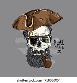 Skull with a hairstyle, beard, mustache in a Pirates hat and a tobacco pipe on a gray background. Vector illustration.