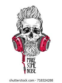 Skull with a hairstyle, beard, mustache in a red Headphones. Vector illustration.